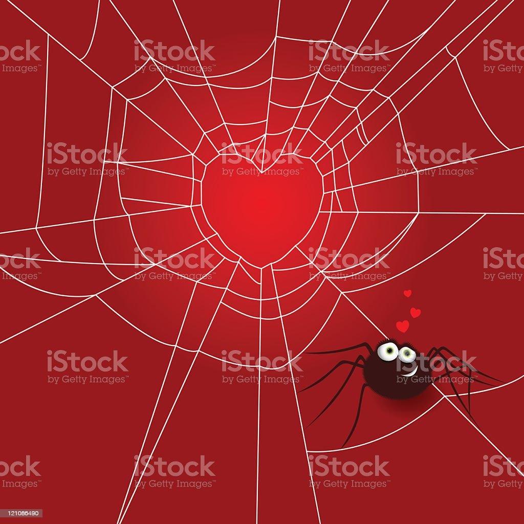Spider love vector art illustration