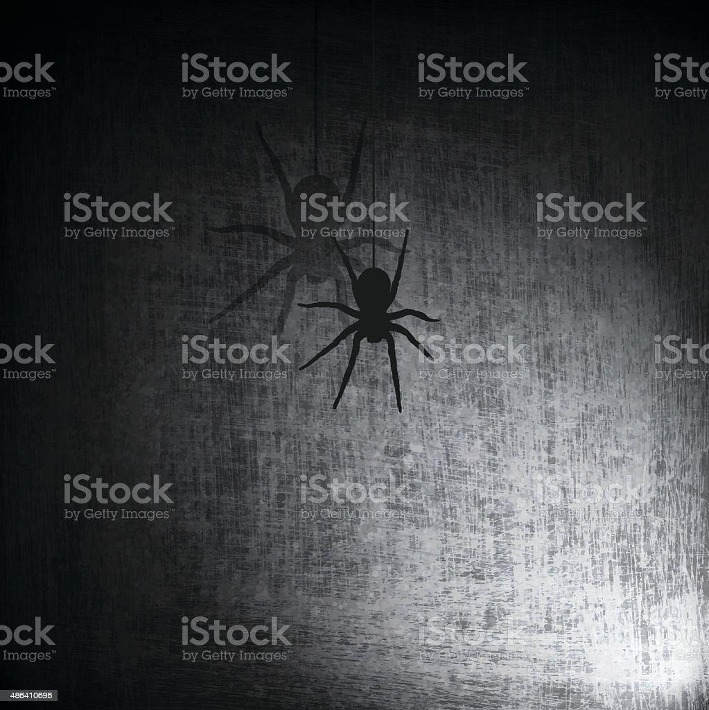 Spider on Grunge Background vector art illustration