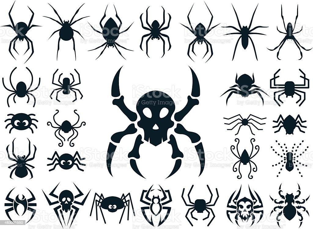 Spider Shapes Set for Halloween vector art illustration