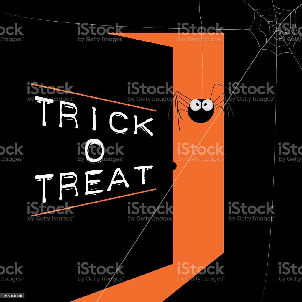 spider web hanging on the front door open in halloween vector art illustration