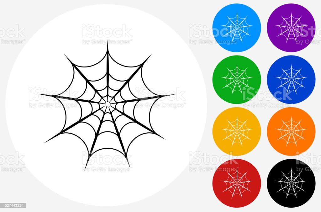 Spider web Icon on Flat Color Circle Buttons vector art illustration