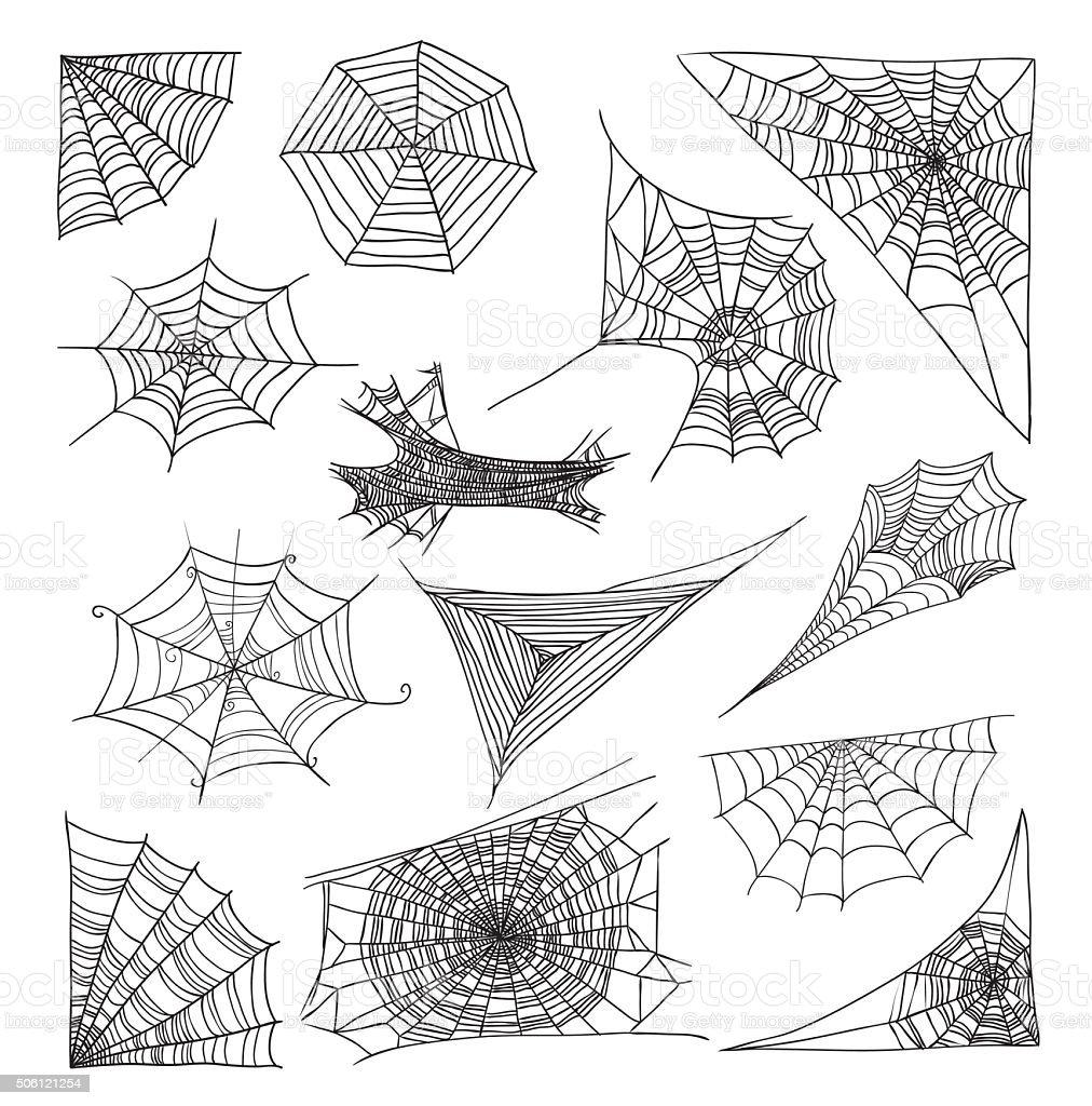 Spider web set, vector illustration. vector art illustration