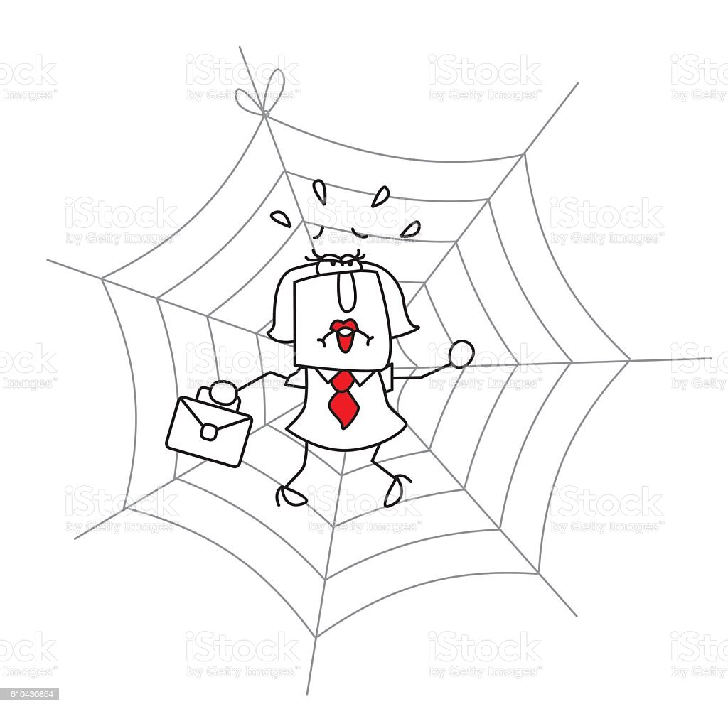 Spiderweb and the businesswoman vector art illustration
