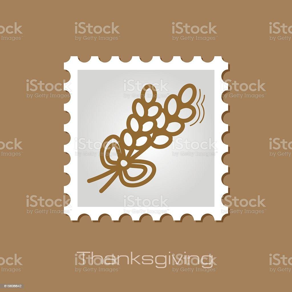 Spikelets wheat stamp. Harvest. Thanksgiving vector art illustration
