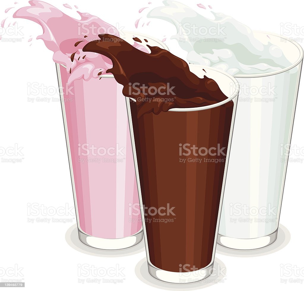 Spilled Glass of White, Chocolate, and Strawberry Milk vector art illustration