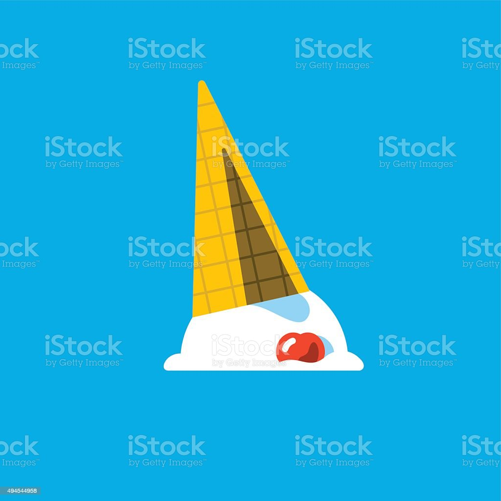 Spilled or Dropped Ice Cream Cone vector art illustration