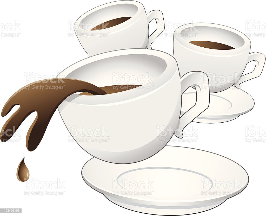 Spilling Coffee Cups vector art illustration