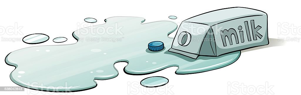 Spilt milk vector art illustration