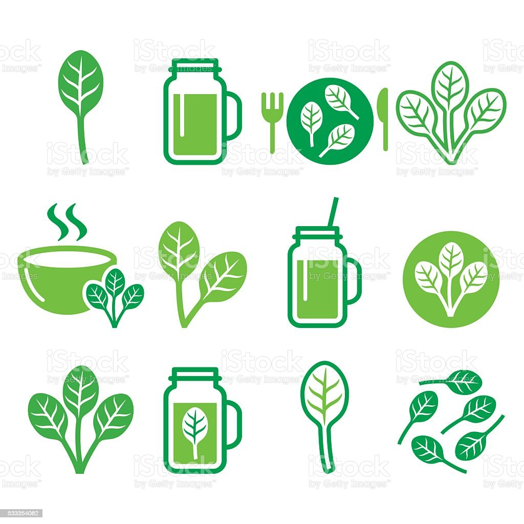 Spinach, healthy food - green smoothie icons set vector art illustration