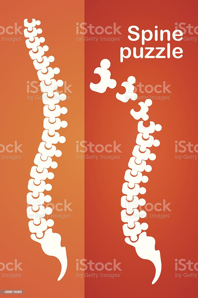 Spine created using puzzles gives a chain effect medical concept vector art illustration