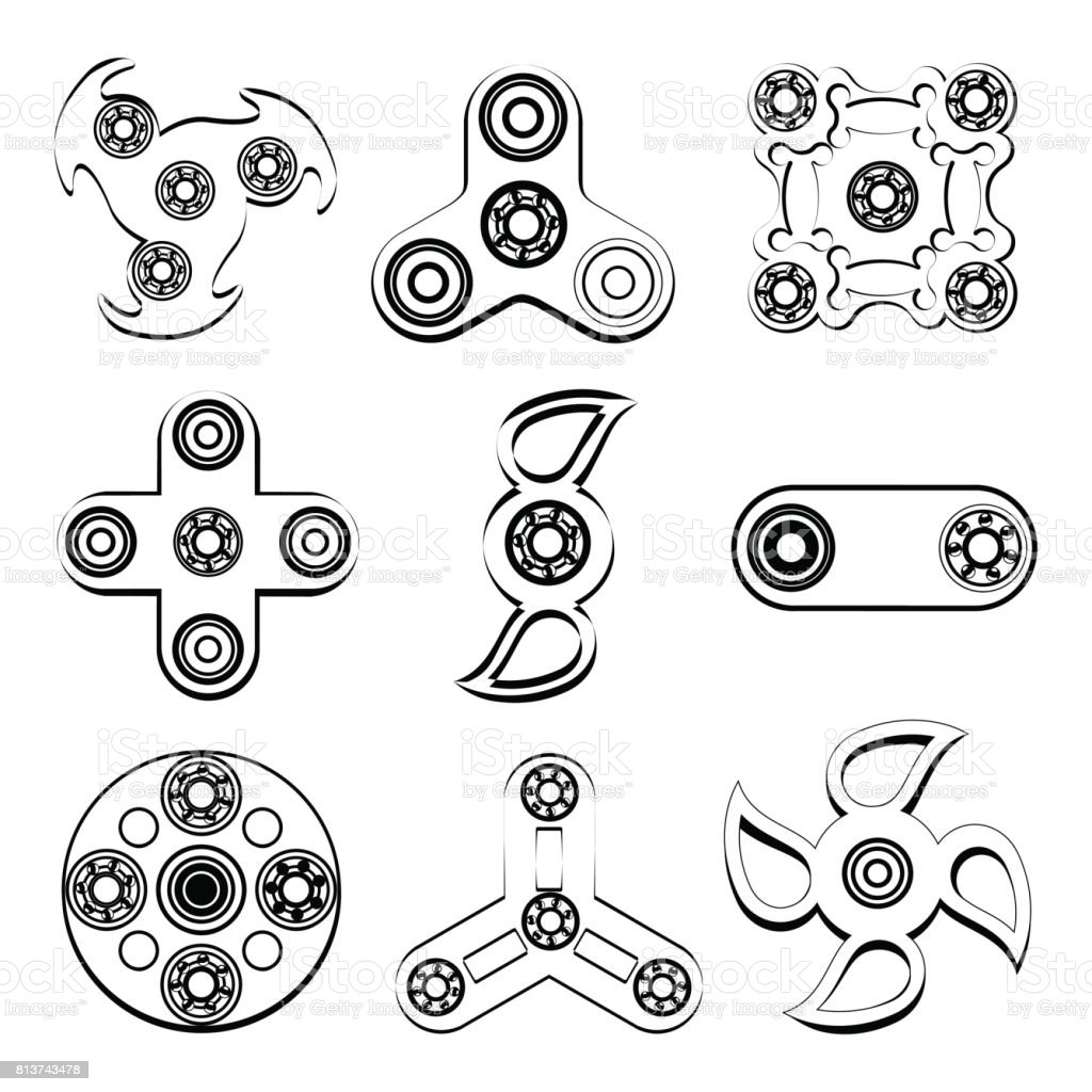 Spinner stress relief toys , silhouette of flat icon vector art illustration