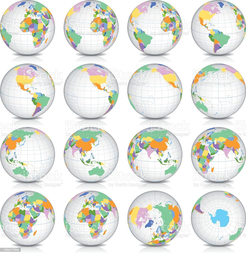 Spinning Earth Globe Icon Set, latitude 15° N view royalty-free stock vector art