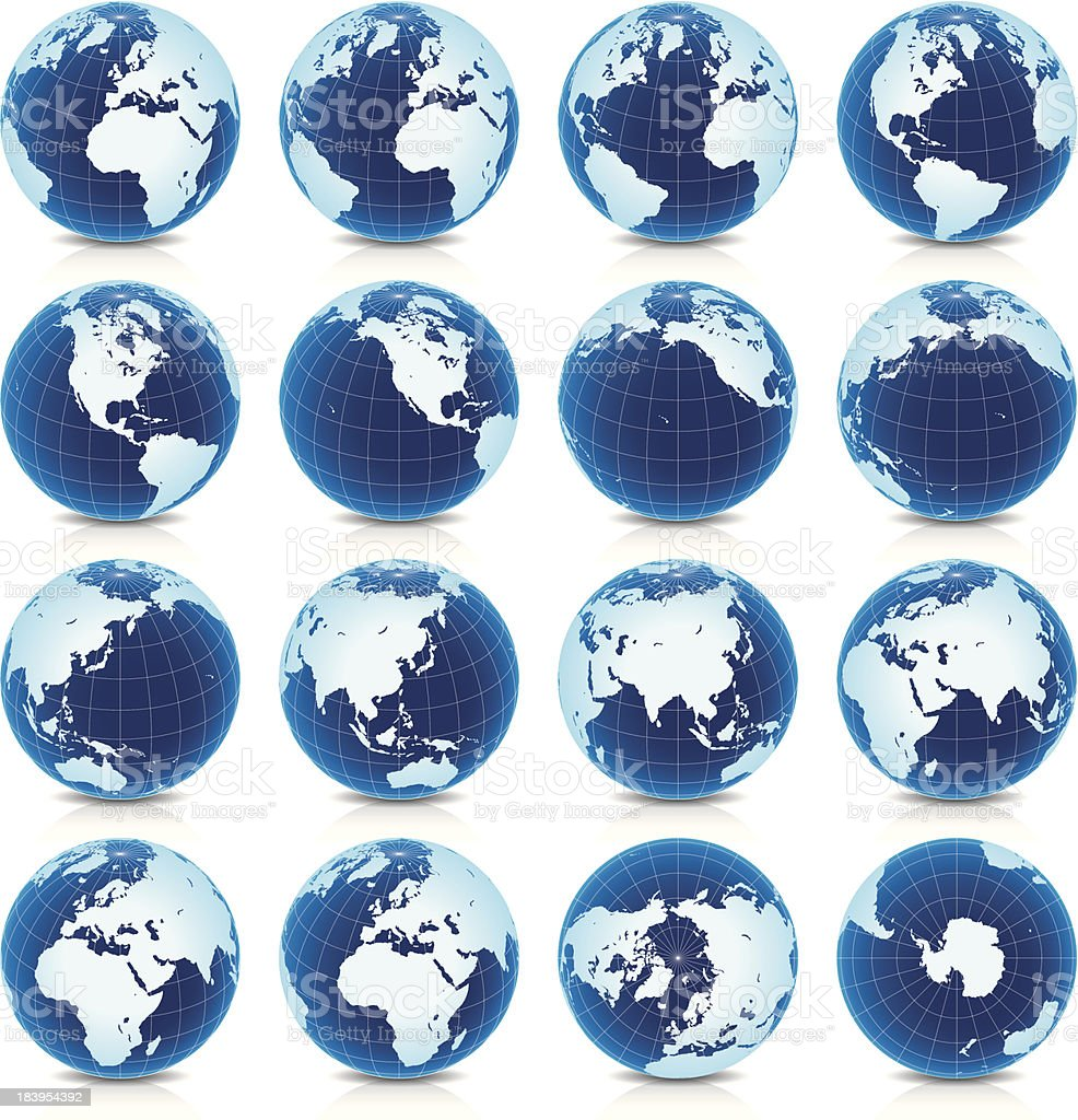 Spinning Earth Globe Icon Set, latitude 30° N view vector art illustration