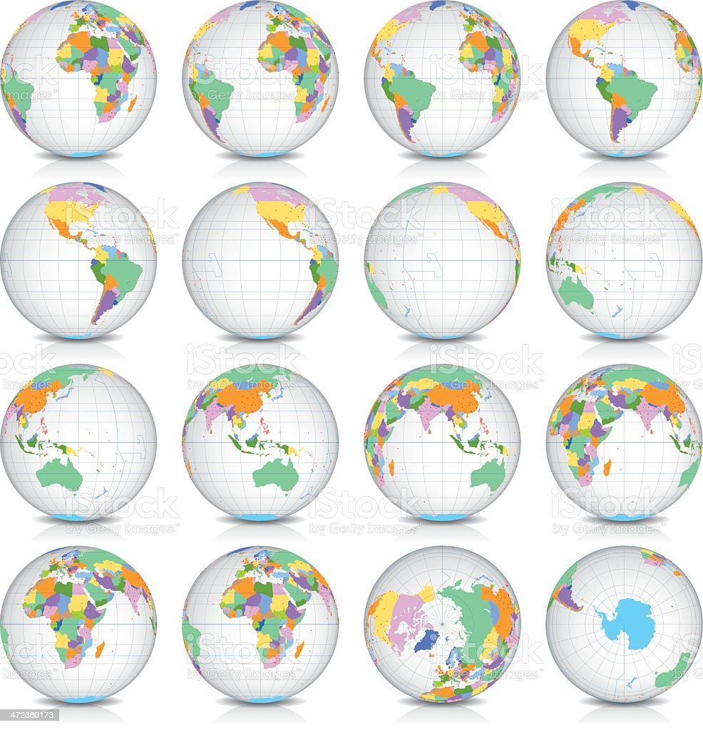 Spinning Earth Globe Icon Set, latitude zero view royalty-free stock vector art
