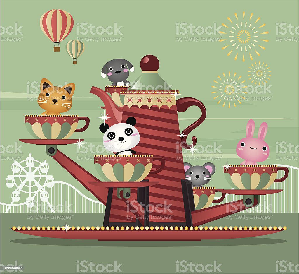 Spinning Tea Cups royalty-free stock vector art