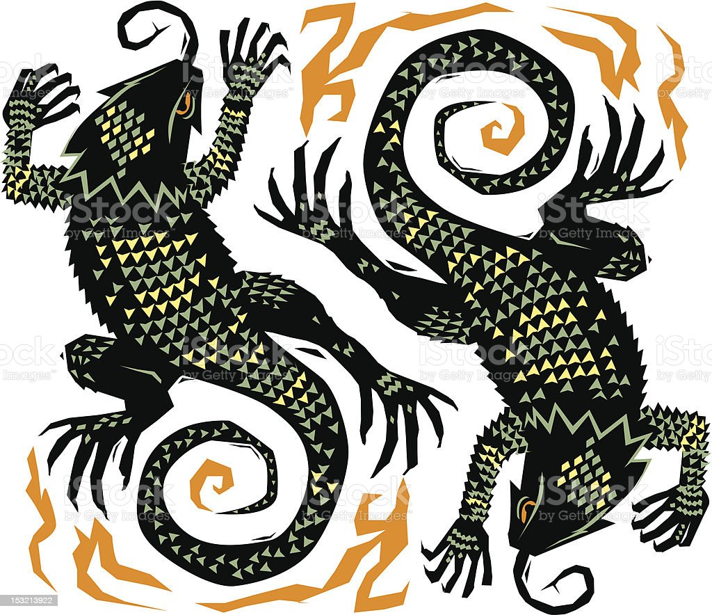 Spiny Southwest Lizards vector art illustration