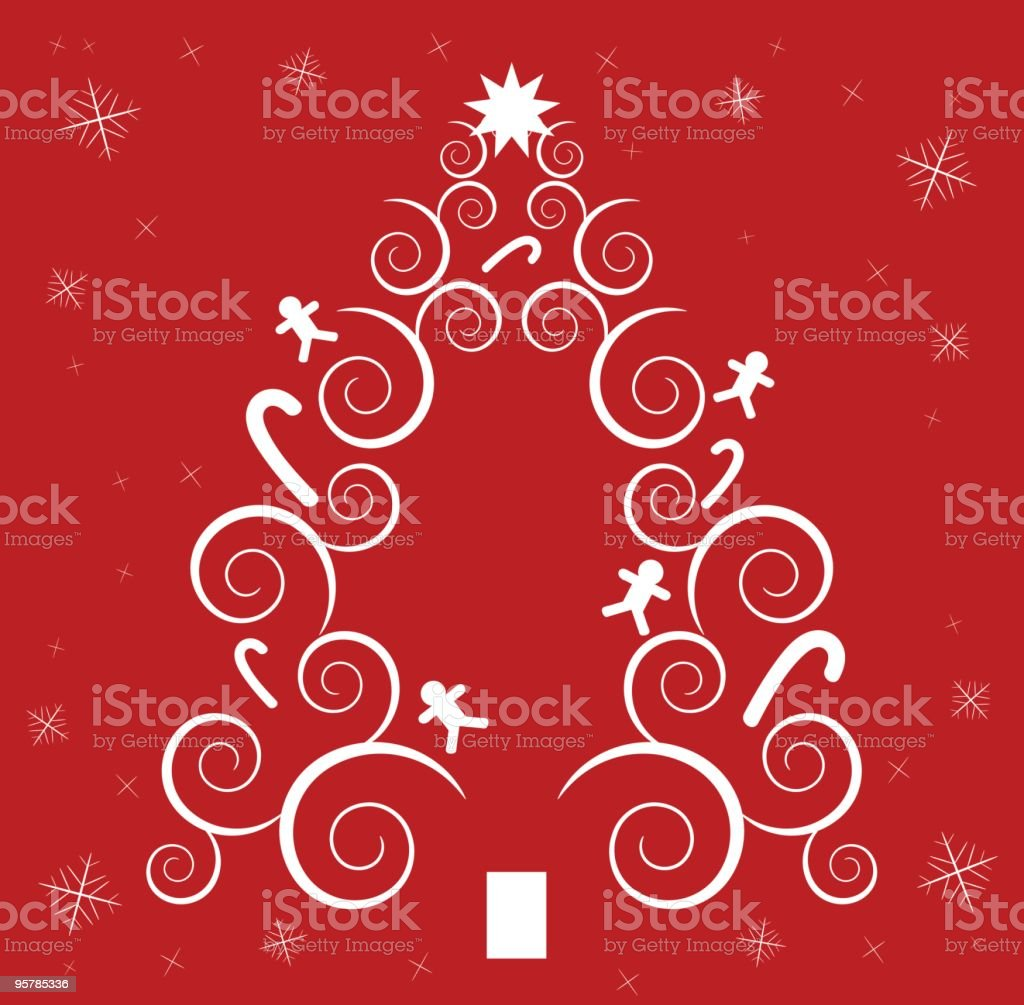 Spiral Christmas tree with snowflakes royalty-free stock vector art