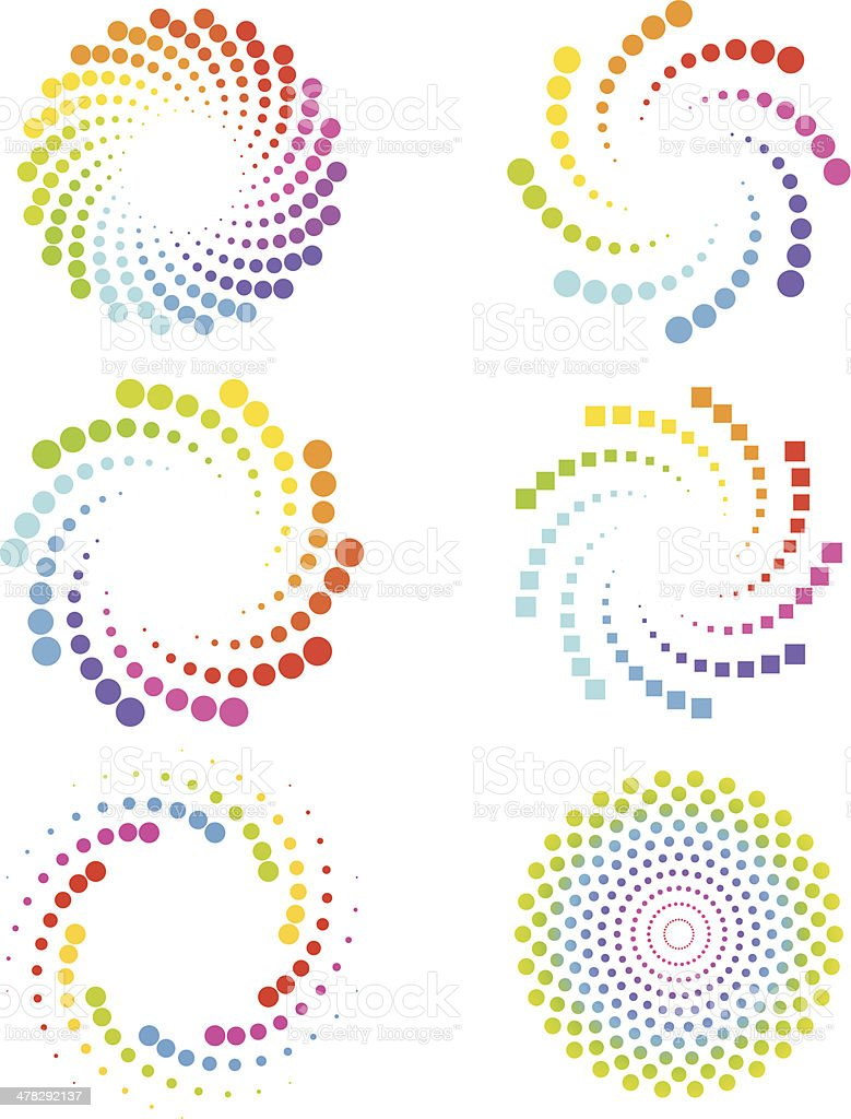 Spiral circles and cubes vector art illustration
