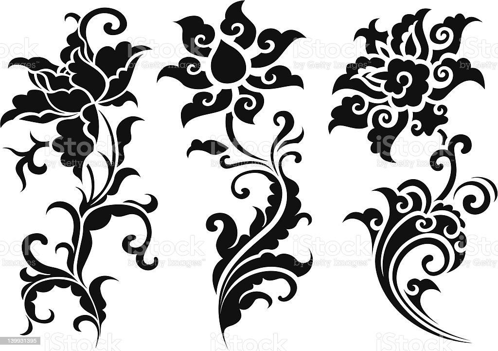 Classico design floreale a spirale illustrazione royalty-free