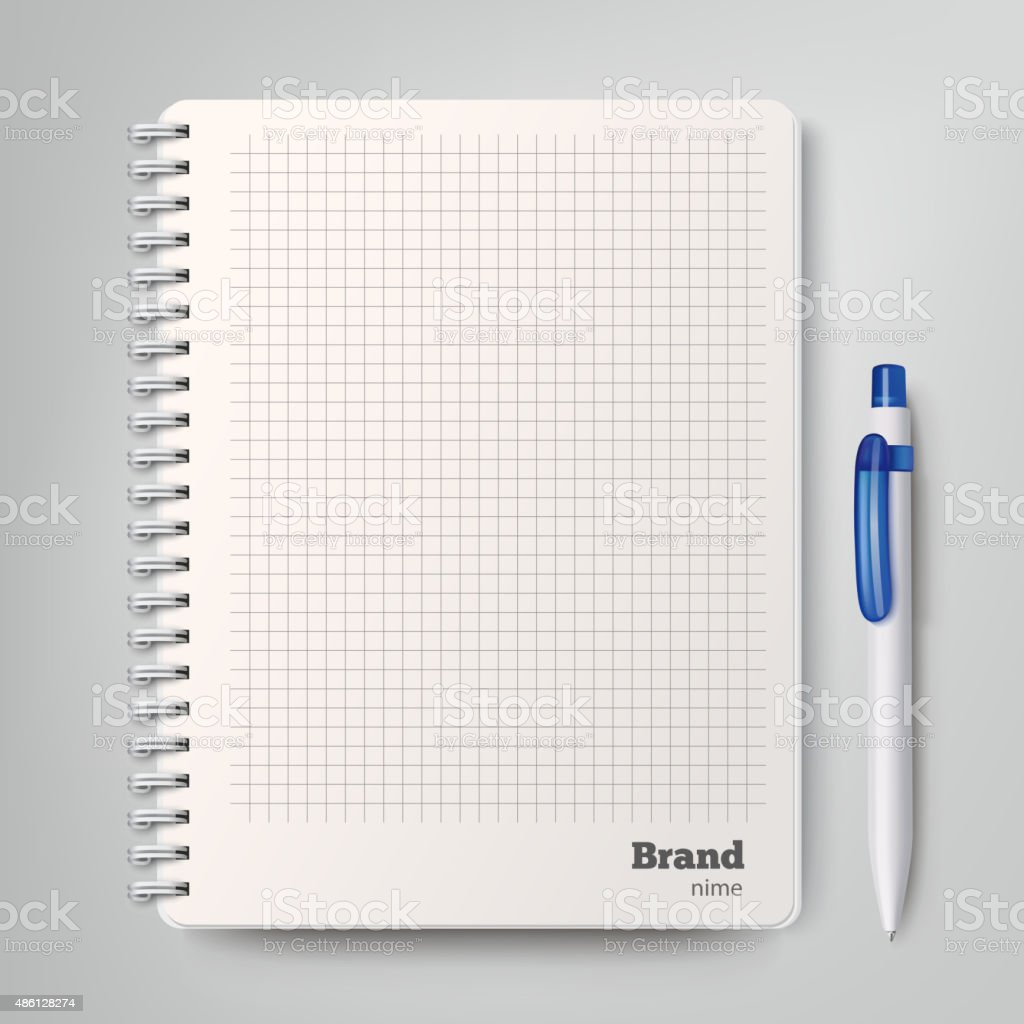Spiral notebook with the white ballpoint pen. Vector illustration vector art illustration