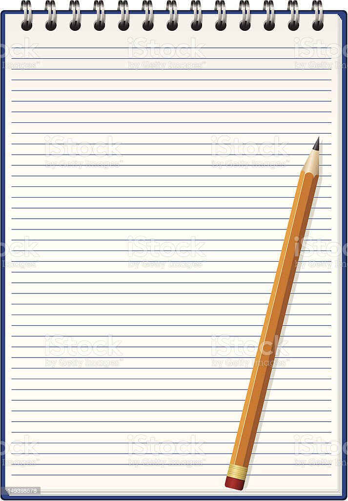 Spiral notepad open with a pencil on top royalty-free stock vector art