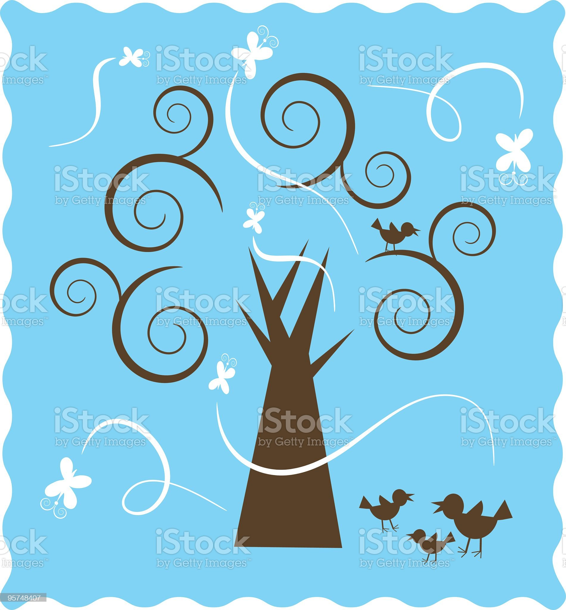 Spiral tree with bird family and butterflies royalty-free stock vector art
