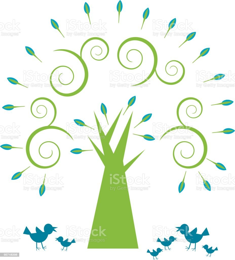 Spiral tree with bird family royalty-free stock vector art