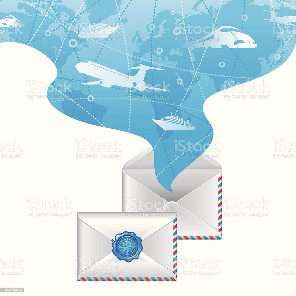 Spirit of travel from opened letter royalty-free stock vector art