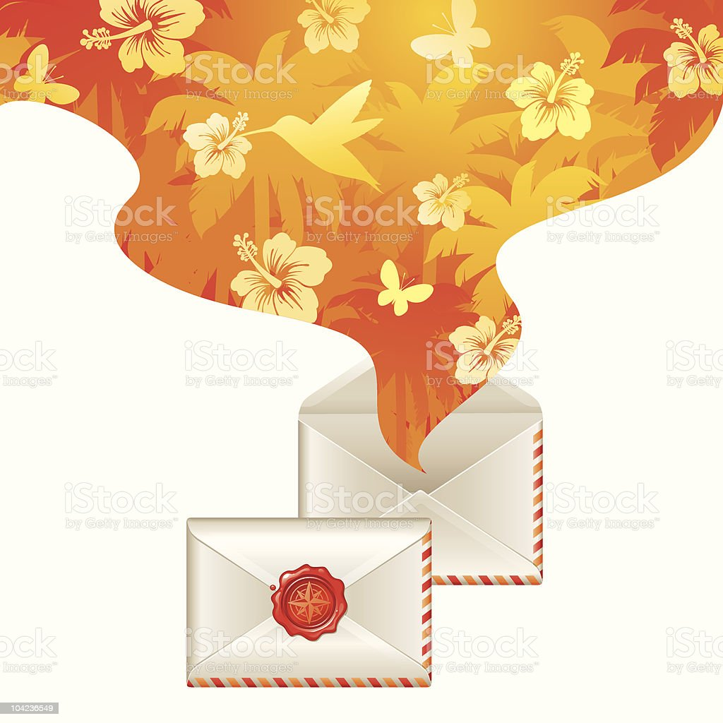 Spirit of tropical travel from opened letter royalty-free stock vector art