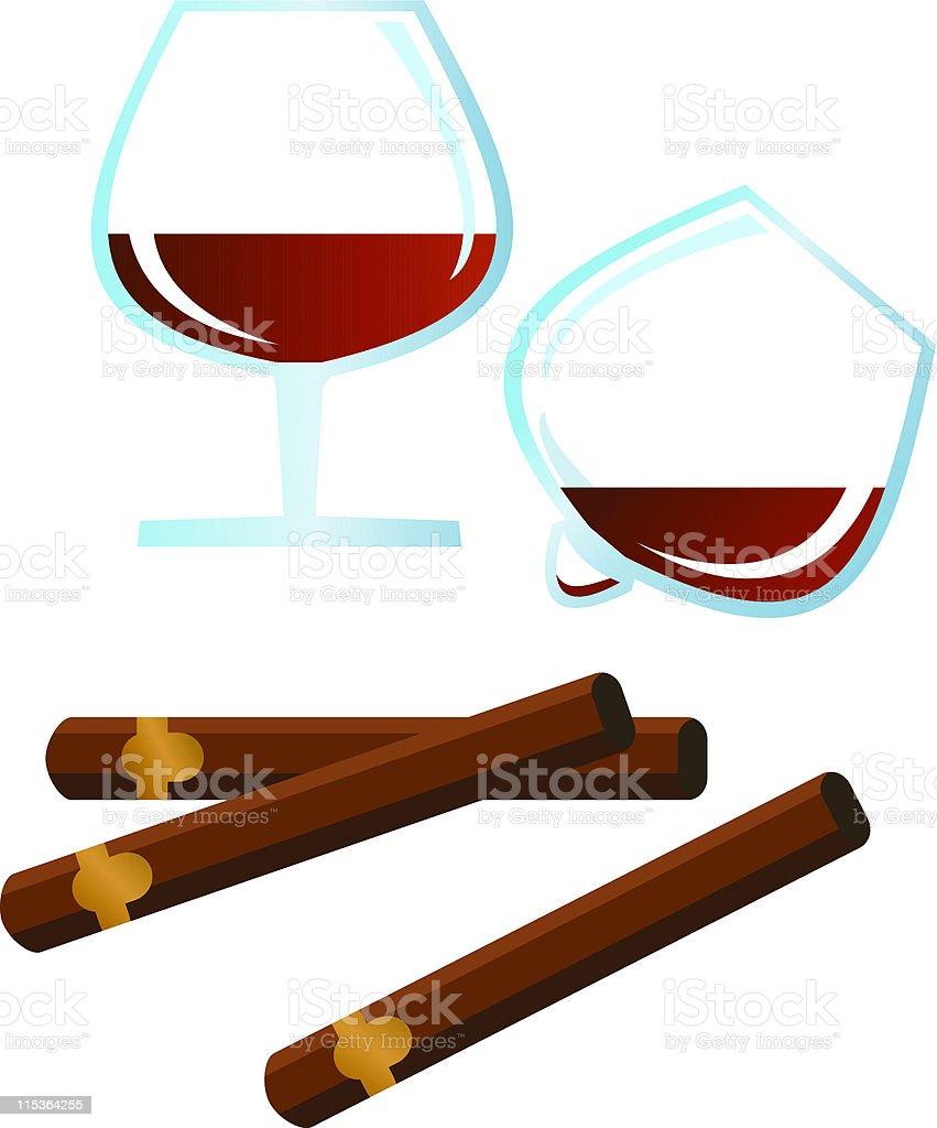 Spirits and Cigars vector art illustration