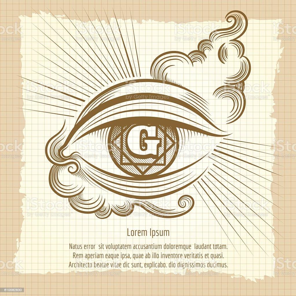 Spiritual eye in vintage style vector art illustration