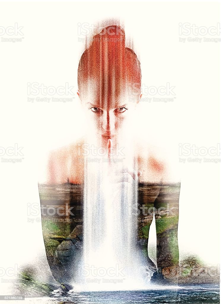 Spiritual Nature Woman Shushing vector art illustration