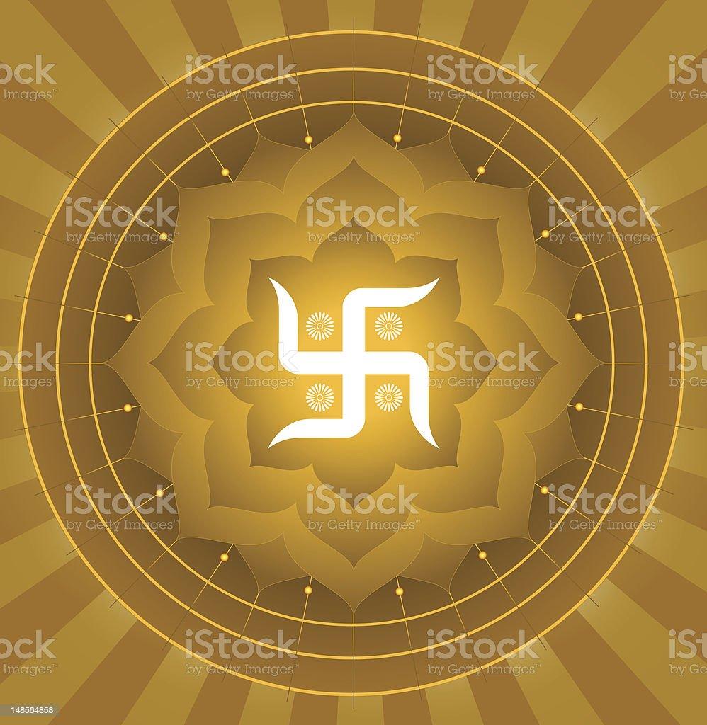 Spiritual Swastika On Lotus Background royalty-free stock vector art