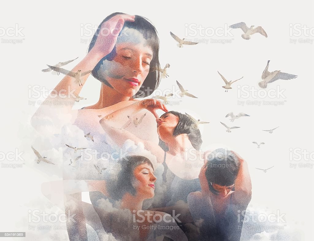 Spiritual Woman, Clouds and Birds vector art illustration