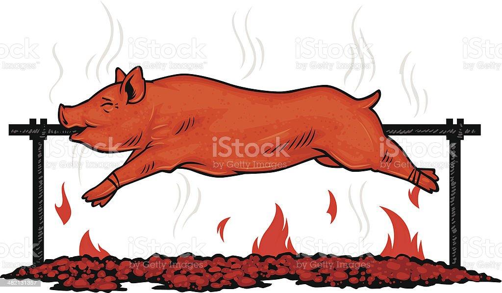 spit roasted pig vector art illustration
