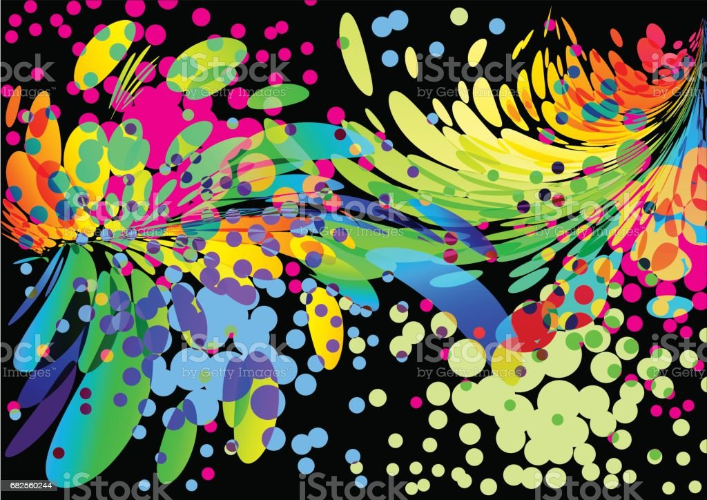 Splash abstract colorful cover background on black vector art illustration