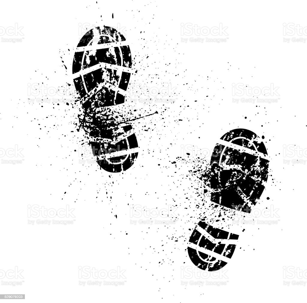 Splash shoe print vector art illustration