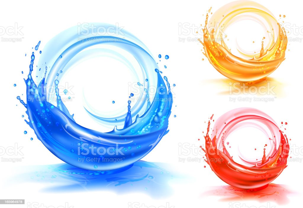 Splash water and juice backgrounds vector art illustration