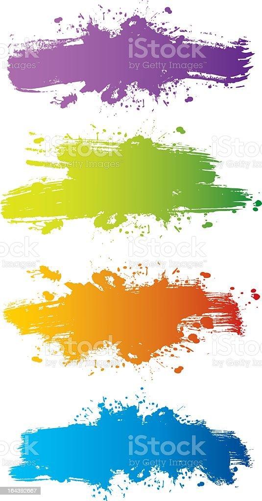 Splashes of purple, blue, green and orange paint vector art illustration