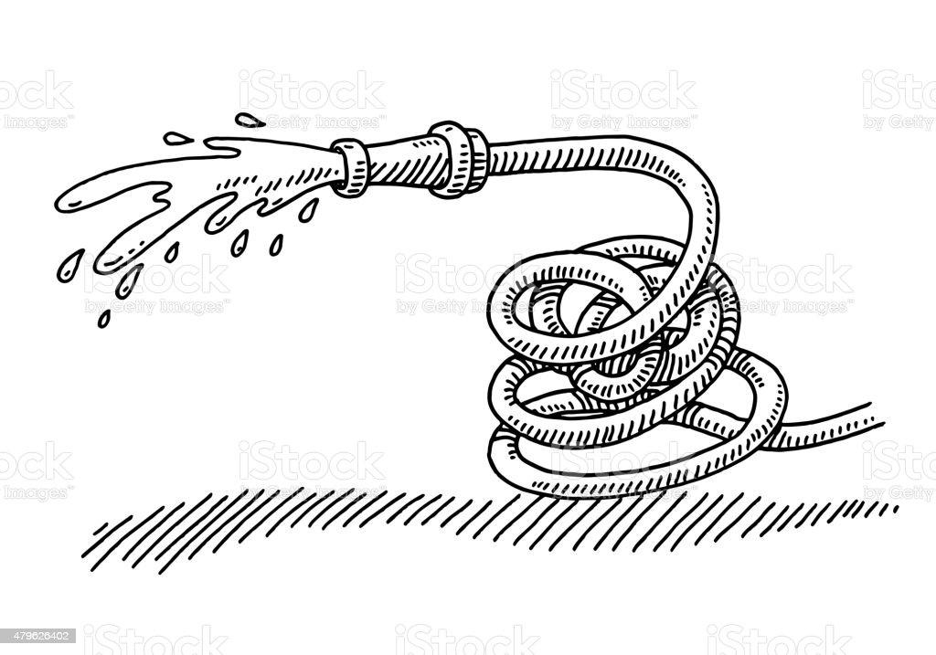 Splashing Hosepipe Gardening Equipment Drawing vector art illustration