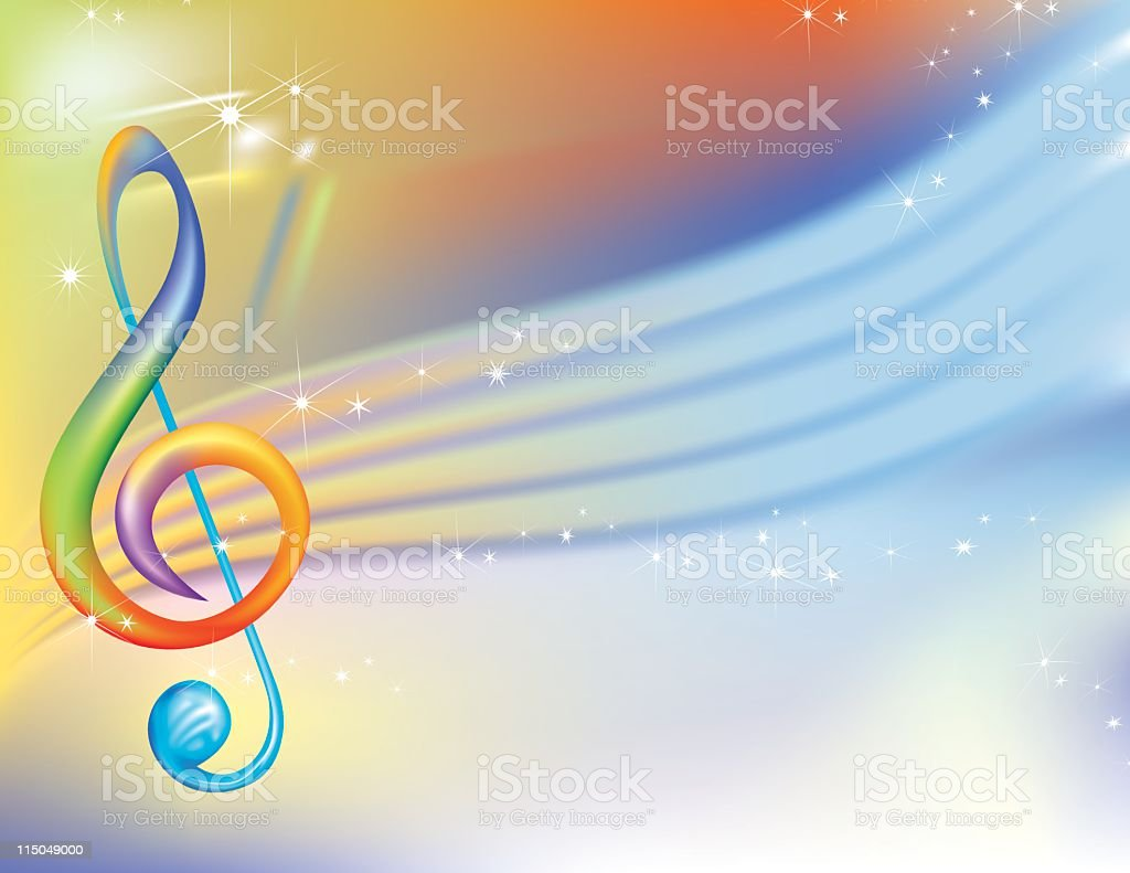 Splashy Treble Clef Background royalty-free stock vector art