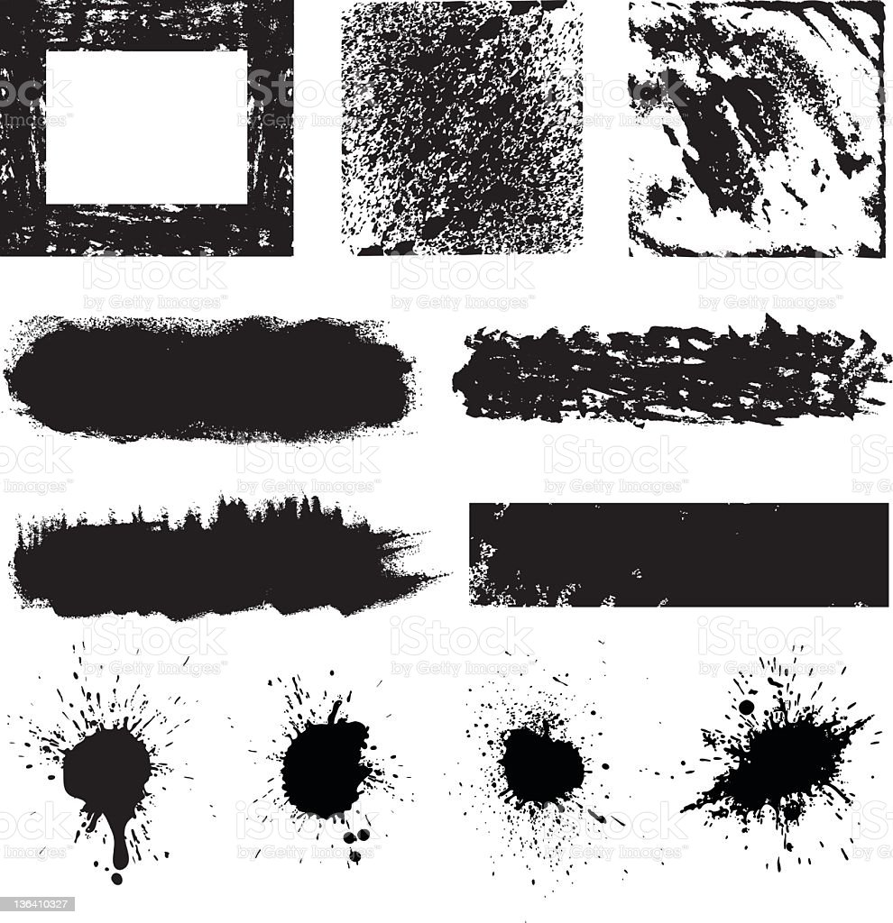 Splatter black and white paint designs royalty-free stock vector art