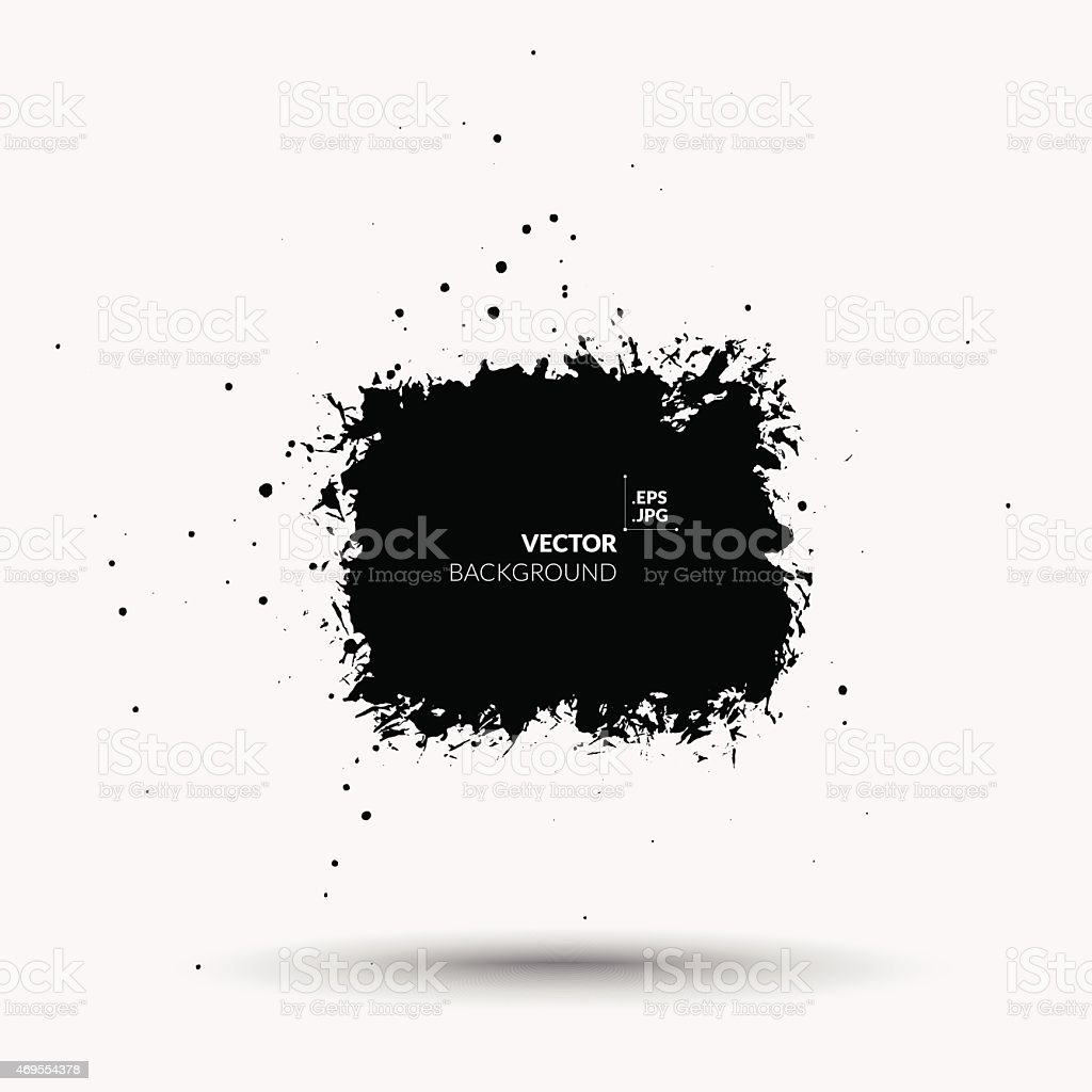 Splattered black square blot with shadow - design element vector art illustration