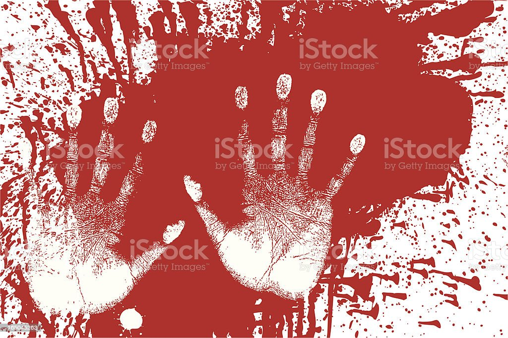 Splattered Blood and Handprints - Forensic Evidence royalty-free stock vector art