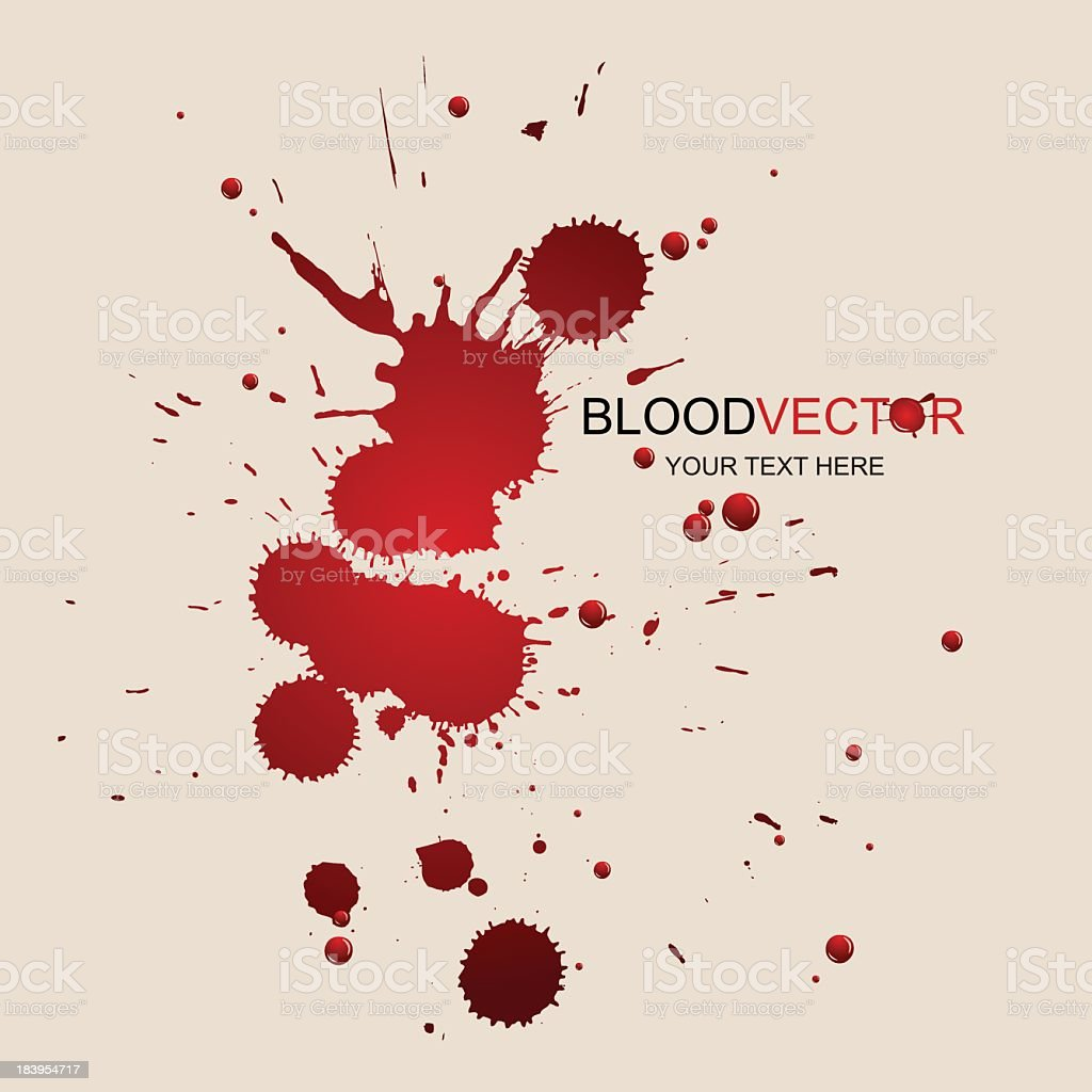 Splattered blood stain graphic on white royalty-free stock vector art