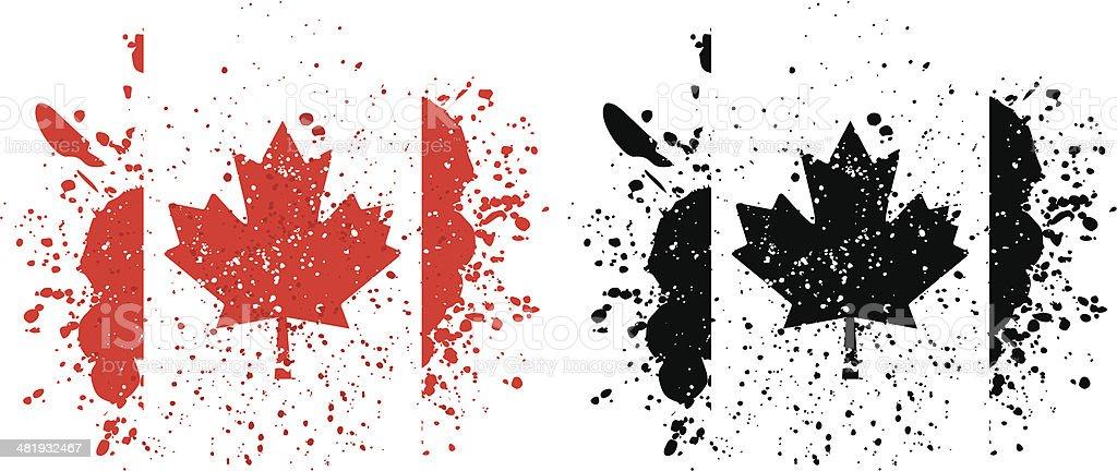 Splattered Canadian Flag royalty-free stock vector art