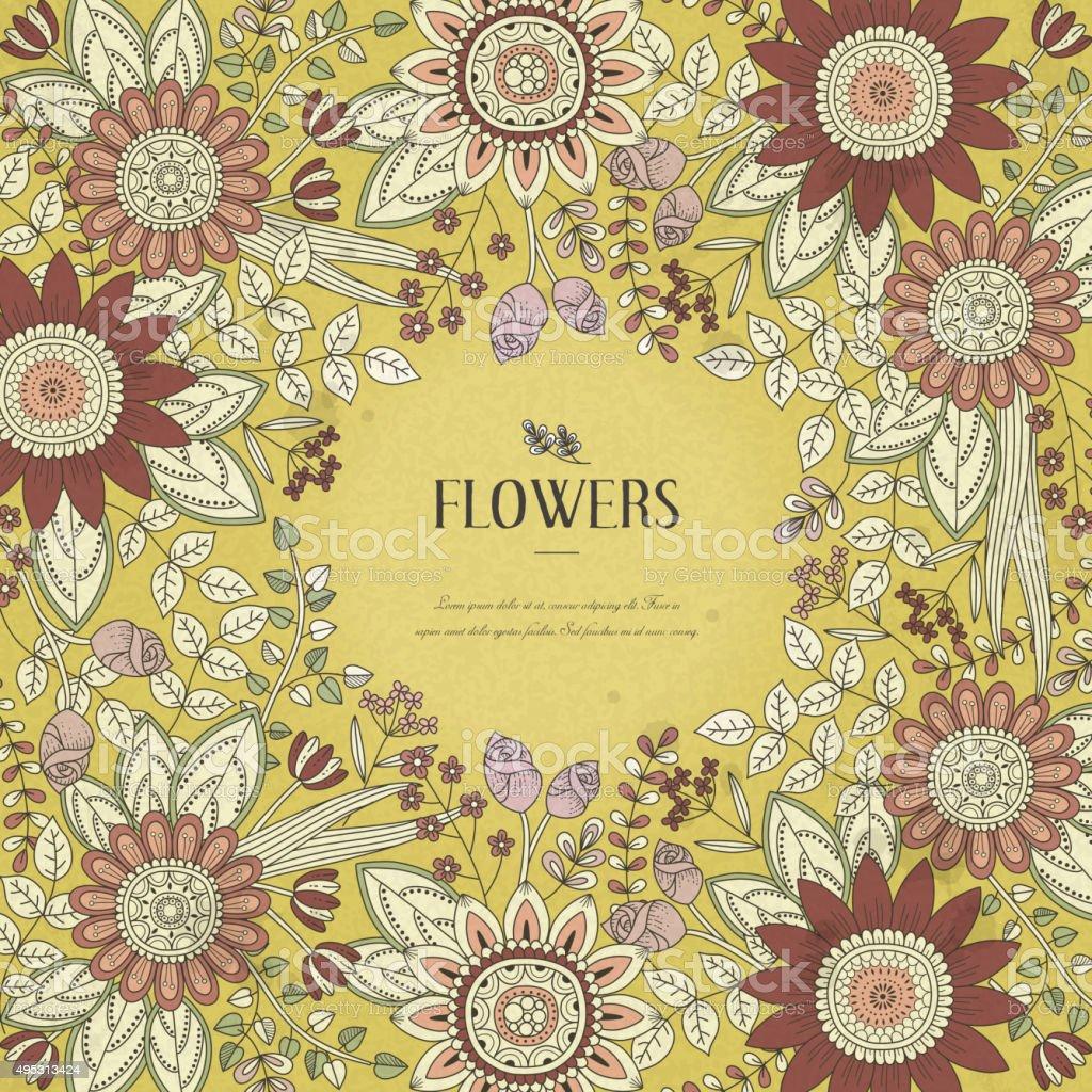 splendid flower frame vector art illustration