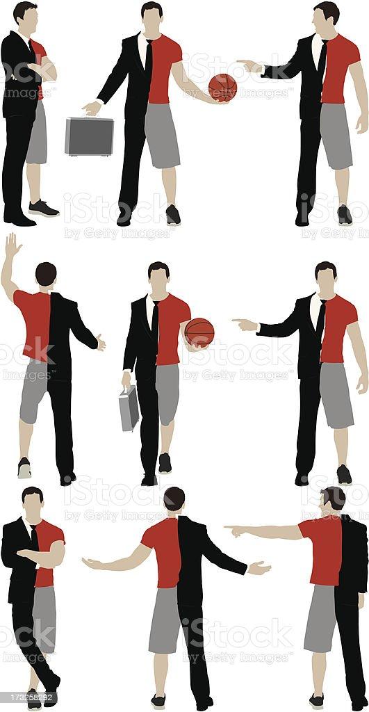 Split person: Sportsman & businessman vector art illustration