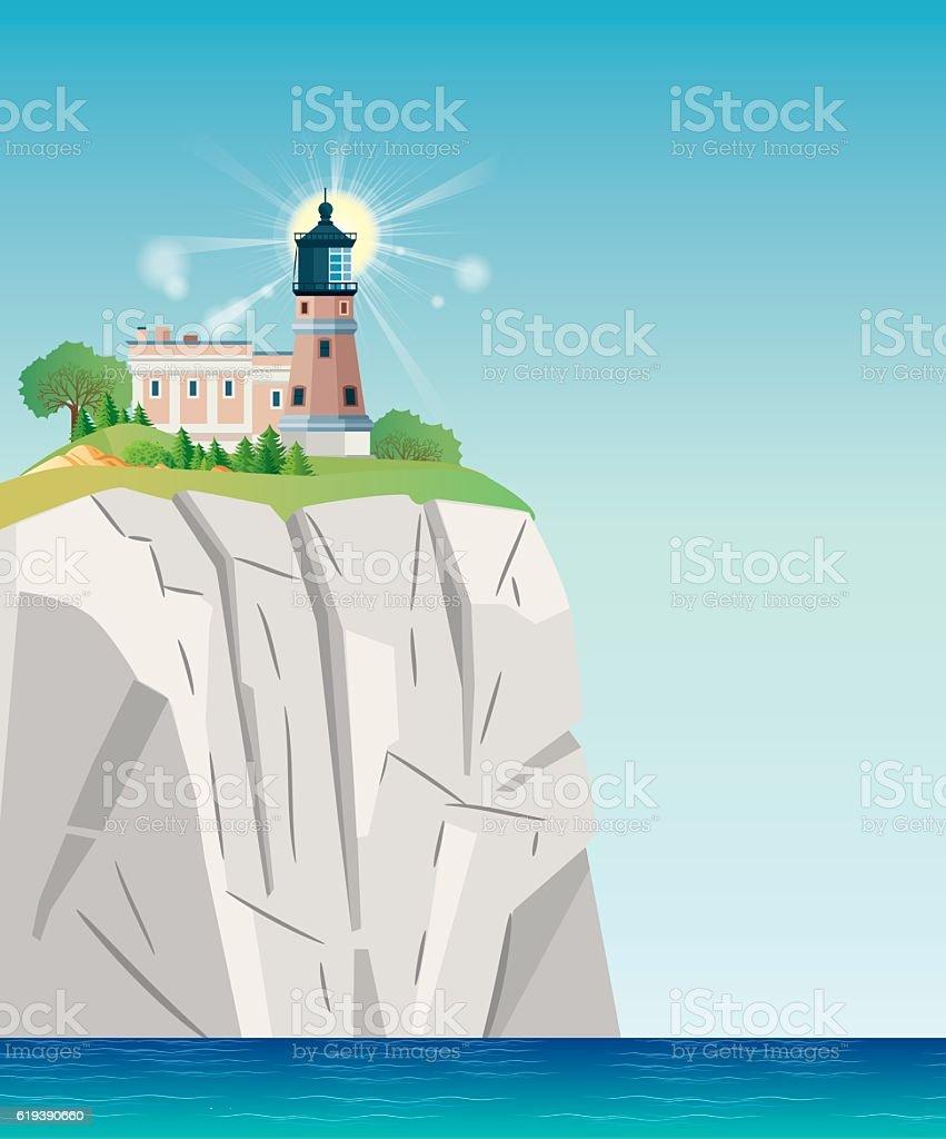 Split Rock Lighthouse vector art illustration
