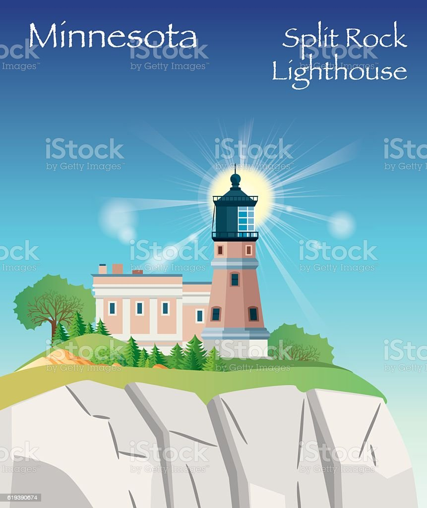 Split Rock Lighthouse vector art illustration